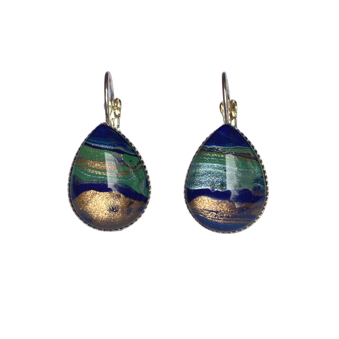 Painted Silver Teardrop Leverback Earrings Small - Earth