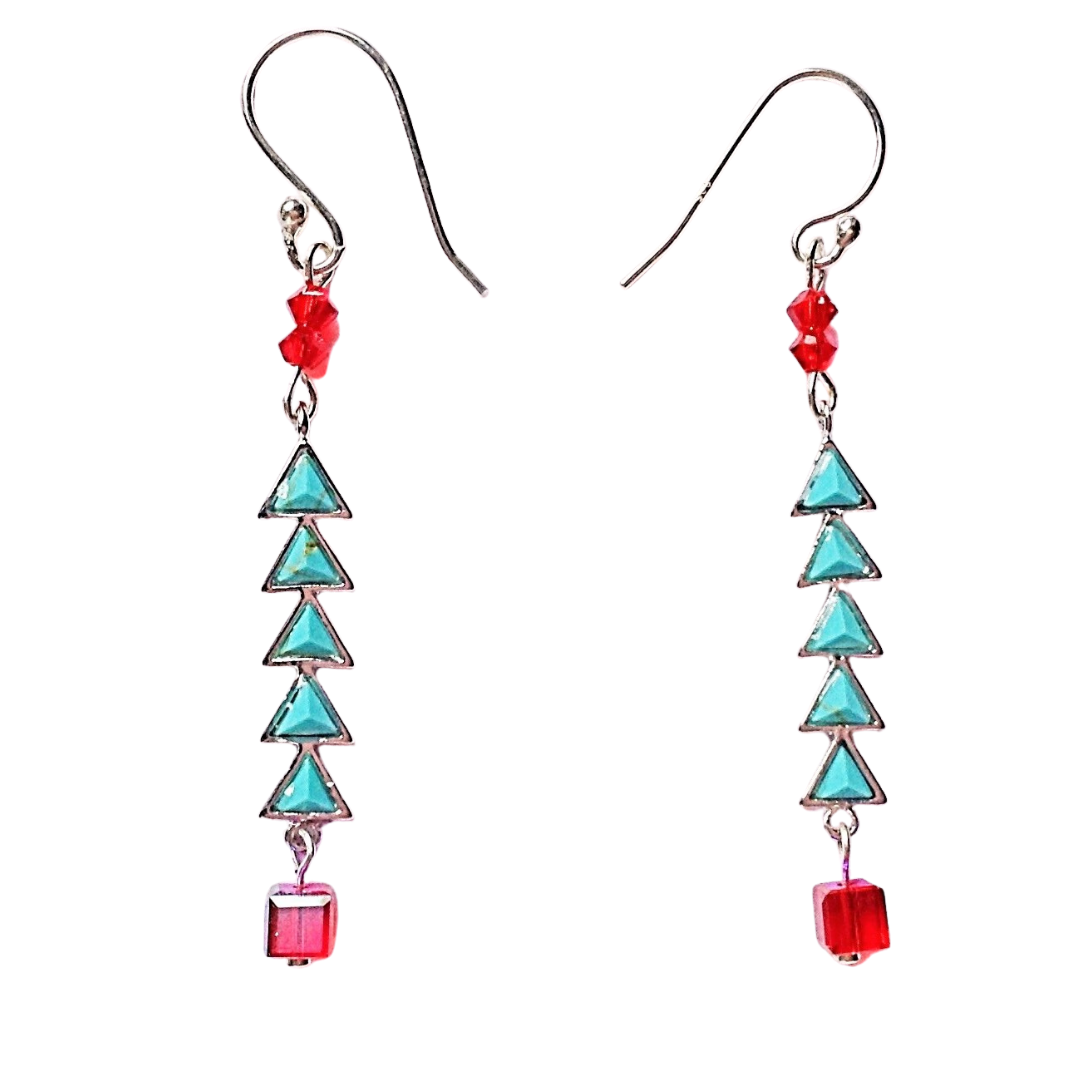 Turquoise Christmas Tree Earrings